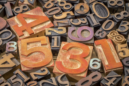 numbers background - vintage letterpress wood type printing blocks (mirror image)