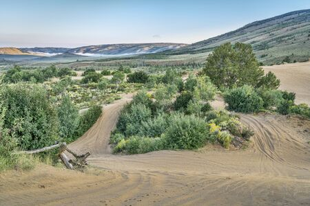 off road: off road trails in North Sand Hills, only place in Colorado to legally ride on sand dunes Stock Photo