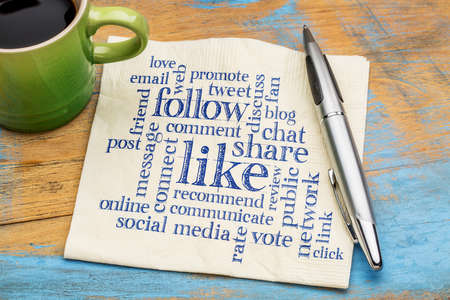 criticize: social media concept - like, share, follow word cloud on a napkin with a cup of coffee Stock Photo
