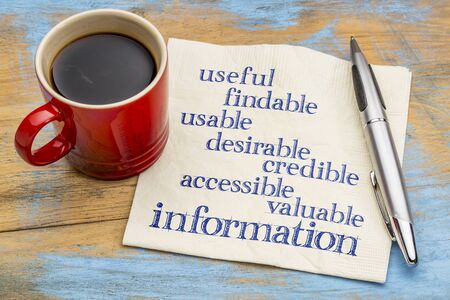 user experience: user experience concept - attributes of information important for usability and user experience on a napkin with a cup of coffee Stock Photo