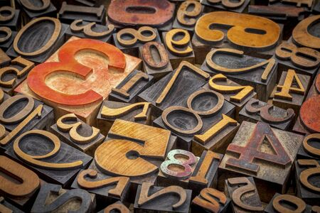 numbers abstract: numbers abstract background - vintage letterpress wood type printing blocks Stock Photo