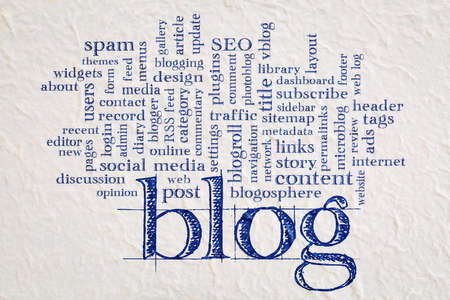 cloud of words or tags related to blogging and blog design - handwriting on a Nepalese lokta paper