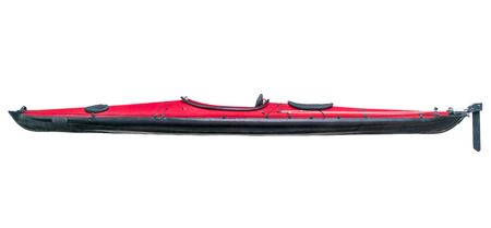 black white kayak: a side view of a folding sea kayak with a red deck and rudder isolated on white