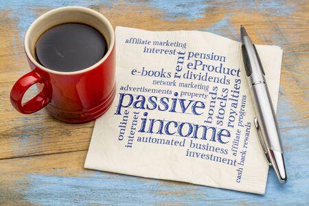 ingresos: pasiva palabra ingreso nube - escritura a mano en una servilleta con una taza de café