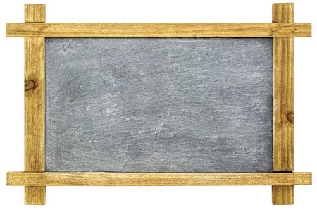 blank spaces: blank small slate blackboard with white chalk texture in wooden grunge frame isolated on white Stock Photo