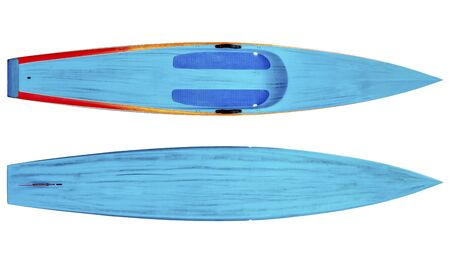 top and bottom of a racing stand up paddleboard in brushed carbon layout isolated on white with a clipping path Stock Photo