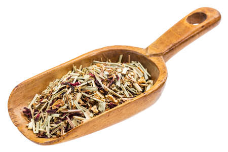 caffeine free: lemon grass herbal tea on a rustic wooden scoop, isolated on white Stock Photo