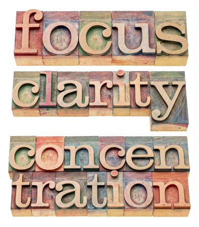 focus, clarity and concentration isolated words in letterpress wood type