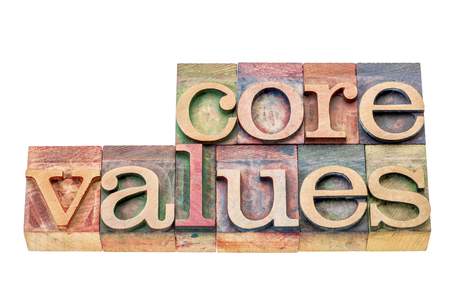 wood type: core values  banner  - isolated word abstract in  letterpress wood type blocks stained by color inks Stock Photo