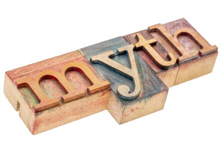 myth word abstract - isolated letterpress wood type printing blocks