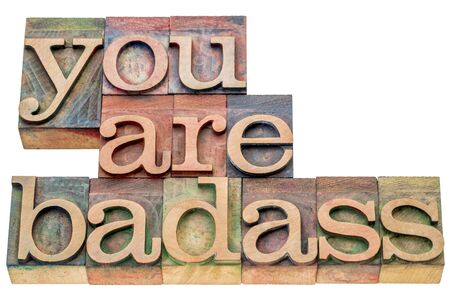 you are badass  - isolated word abstract in letterpress wood type printing blocks stained by color inks Stock Photo