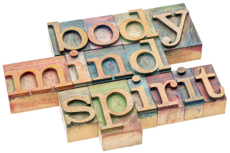 body, mind, spirit word abstract - isolated text in letterpress wood type printing blocks