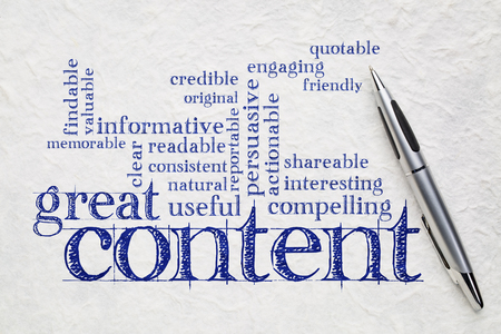 content writing: great content writing word cloud on a white lokta paper -  business writing and content marketing concept