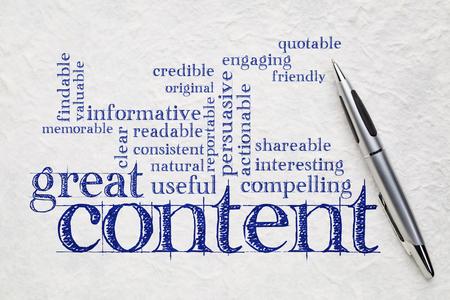 große Content-Schreiben Wortwolke auf einem weißen lokta Papier - Unternehmen schriftlich und Content-Marketing-Konzept