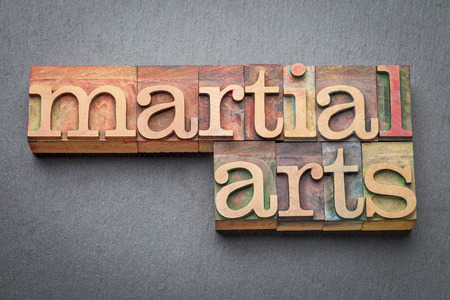 wood type: martial arts word abstract in letterpress wood type blocks against gray slate stone