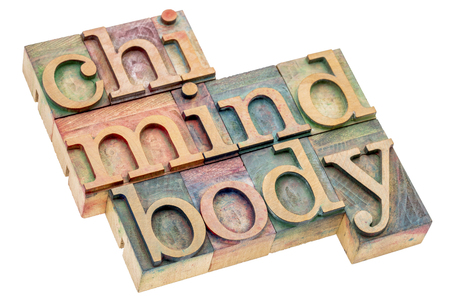 chi, mind, body word abstract - isolated text in letterpress wood type Stock Photo