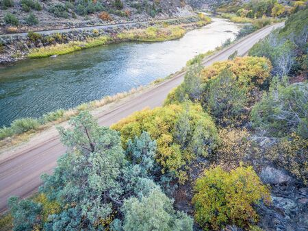 colorado river: aerial view of upper Colorado River at Burns, Colorado in fall colors Stock Photo