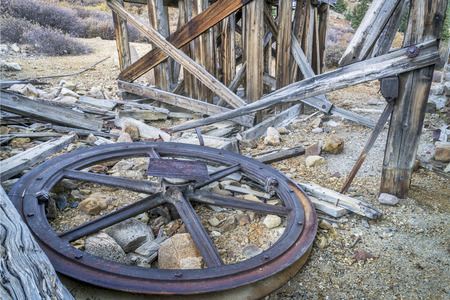 tramway: ruins of gold mine near Mosquito Pass in Rocky Mountains, Colorado - parts of aerial tramway used to transport gold ore