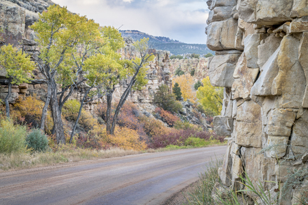 backcountry: backcountry road through canyon with fall colors near State Bridge, Colorado Stock Photo