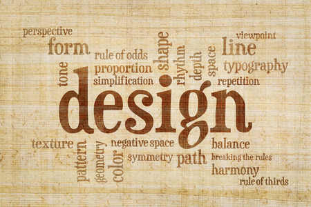 rule of thirds: design elements and rules word cloud on a papyrus paper Stock Photo