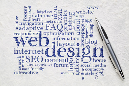 web or website design concept - a word cloud on a white lokta paper with a pen