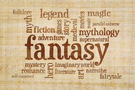 legends folklore: fantasy word cloud - text on a papyrus  paper Stock Photo