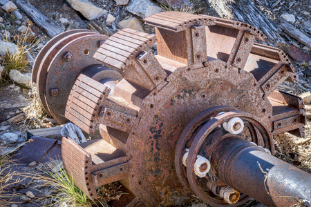 rotor: a rotor of vintage electric motor that was used to run air compressor at a gold mine near Mosquito Pass, Colorado