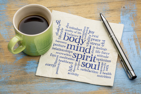 mind, body, spirit and soul concept  - word cloud on a napkin with a cup of coffee Stok Fotoğraf