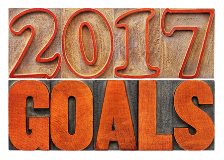 2017 goals banner - New Year resolution concept - isolated text in vintage letterpress wood type printing blocks stained by red ink