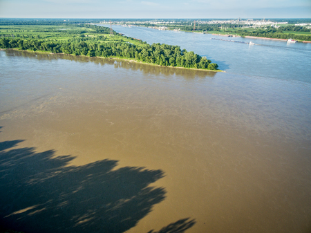 confl;uence of Missouri and Mississippi Rivers -aerial view