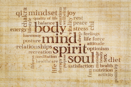 mind, body, spirit and soul concept  - word cloud on a papyrus paper Standard-Bild