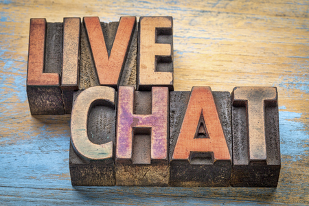 live chat word abstract in vintage letterpress wood type