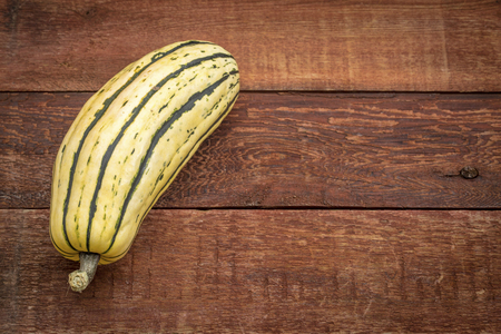 delicata winter squash against rustic red painted wood barn table with a copy space