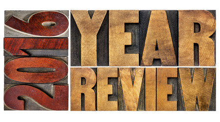 letterpress blocks: 2016 review banner - annual review or summary of the recent year - isolated word abstract in vintage letterpress wood type blocks Stock Photo
