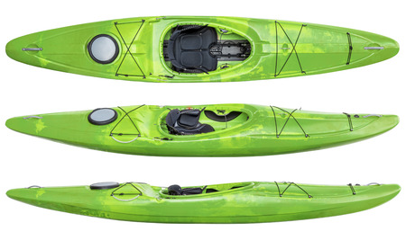 top and two side views of green crossover kayak (whitewater and river running kayak) isolated on white Фото со стока