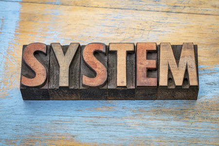 system - word abstract in vintage letterpress wood type against grunge wood