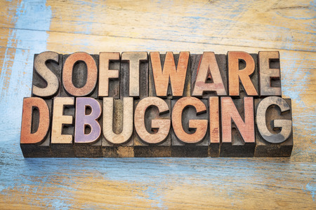 debugging: software debugging  - word abstract in vintage letterpress wood type against grunge wood