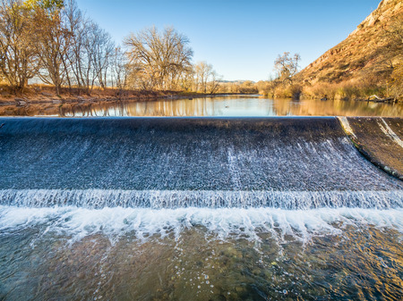 poudre river: diversion dam on the Poudre River in northern Colorado at Belvue near Fort Collins - aerial view
