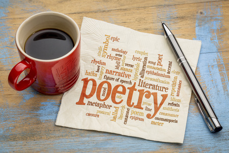 anecdote: poetry word cloud on a napkin with a cup of coffee