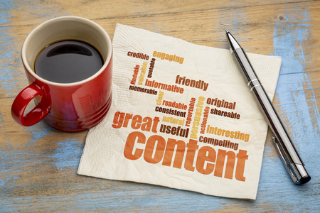 content writing: business writing and content marketing concept - great content word cloud on a napkin with a cup of coffee
