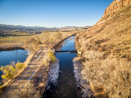 poudre river: diversion dam on the Poudre River, Wilson Lake and Belvue Dome in northern Colorado near Fort Collins - aerial view