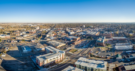 collins: cityscape panorama of Fort Collins downtown, late fall scenery of northern Colorado, aerial view Editorial