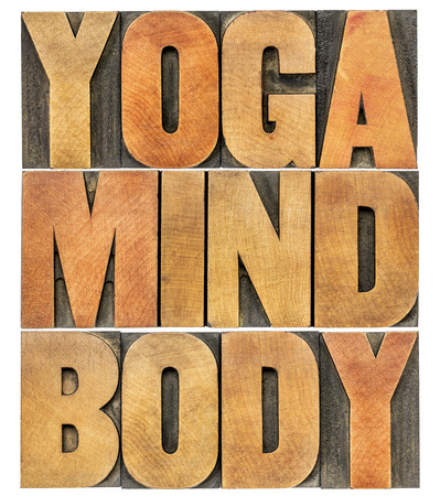 letterpress blocks: yoga, mind, body word abstract - isolated text in letterpress wood type printing blocks