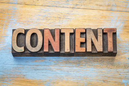 content  - word abstract in vintage letterpress wood type printing blocks Stock Photo