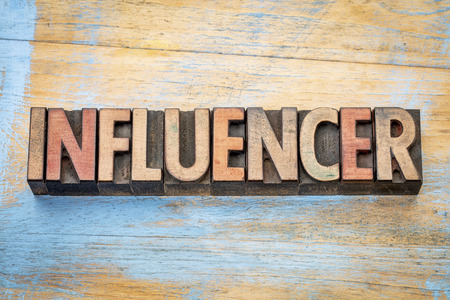 influencer - word abstract in vintage letterpress wood type printing blocks