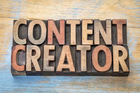 creador: creador de contenido - resumen de palabras en bloques de impresión de tipo madera de tipografía