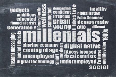 demografia: Millenials nube de la palabra en una pizarra de la vendimia aislado en blanco - concepto de la demografía