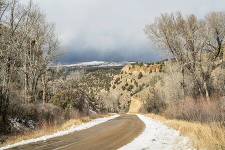 backcountry: backcountry road through canyon in a late fall near State Bridge, Colorado Stock Photo