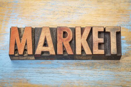market - word abstract in vintage letterpress wood type printing blocks Stock Photo