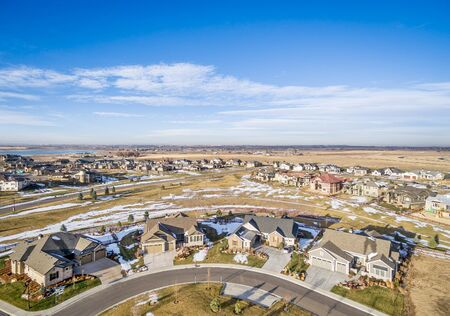 real estate aerial photography - a new house development along Colorados Front Range